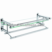 Bathroom Accessories High Quality Barthroom Equipment Wall Mounted Glass Shelf With Stainless Steel Towel Rack