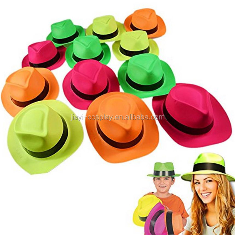 Neon Plastic Gangster Hats Dress Up Toy Party Favor Accessory For Photo Booths & Themed Parties Assorted Colors
