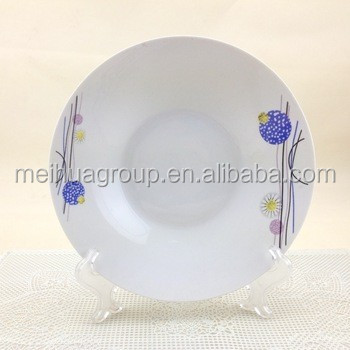 flower decal deep white porcelain soup plate with popular design