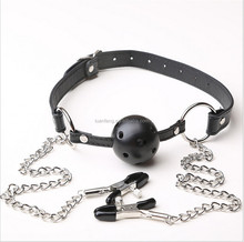 Bondage Restraint Sex Toys Silicone Open Ball Mouth Gag with Nipple Clamp Breast Clip for Women