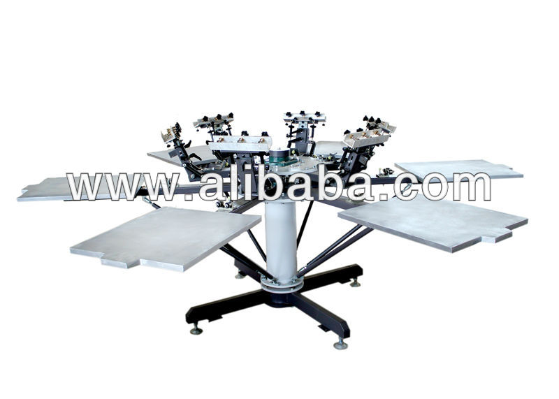 6 color six station manual rotary t-shirt screen printing machine with mico registration