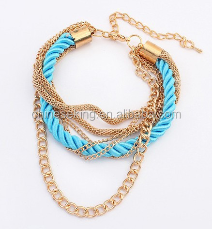 rhinestone Chain silk cord wrapped bangle bracelet handmade woven Boho bracelet bangle chain and string braided bracelet