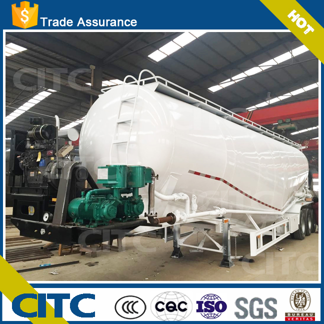 Tri-axle 60 tonnage cement bulker semi truck trailer, air compressor and diesel engine assembled bulk cement tank semi trailer