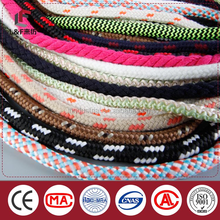 2016 factoyr wholesale 100& cotton or POlyester braided round rope /Hemp string round rope /twisted rope