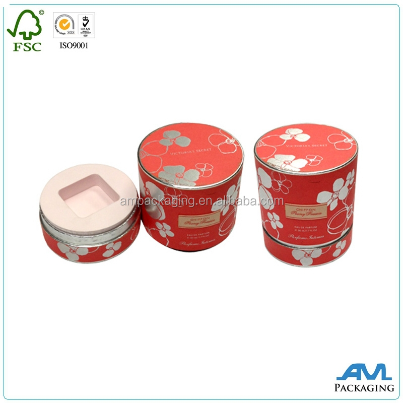 wholesale custom paper luxury round box with foam insert cosmetic gift packing