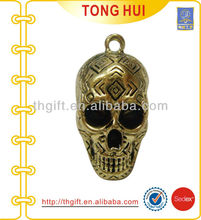 3D Skull design metal keychain with antique bronze plating