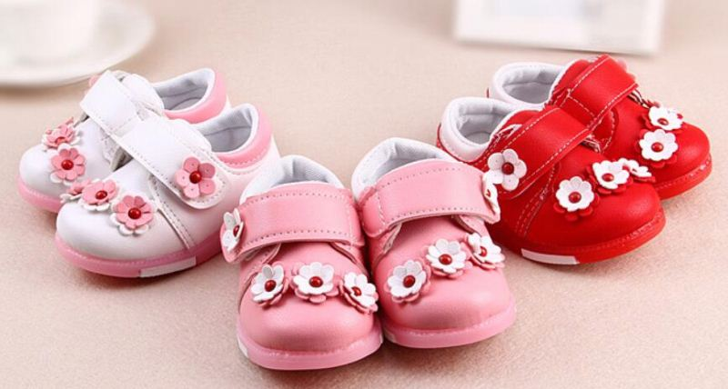 Hot sale beautiful flower children baby girl shoes kids baby pu leather casual shoes