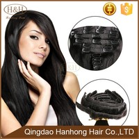 New clip in hair extension human wig high quality with 1b# hair for black women