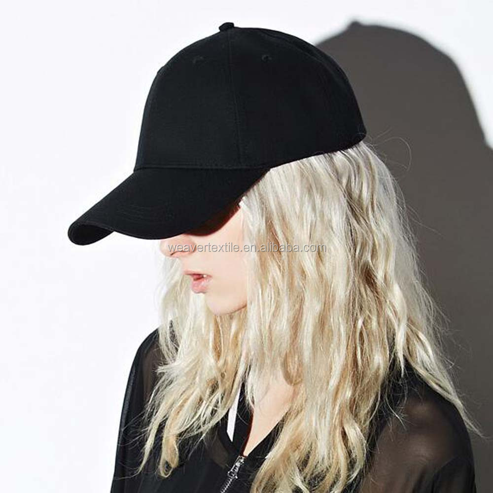 Cotton 6 Panel <strong>Hat</strong> Black/White Blank Baseball Cap
