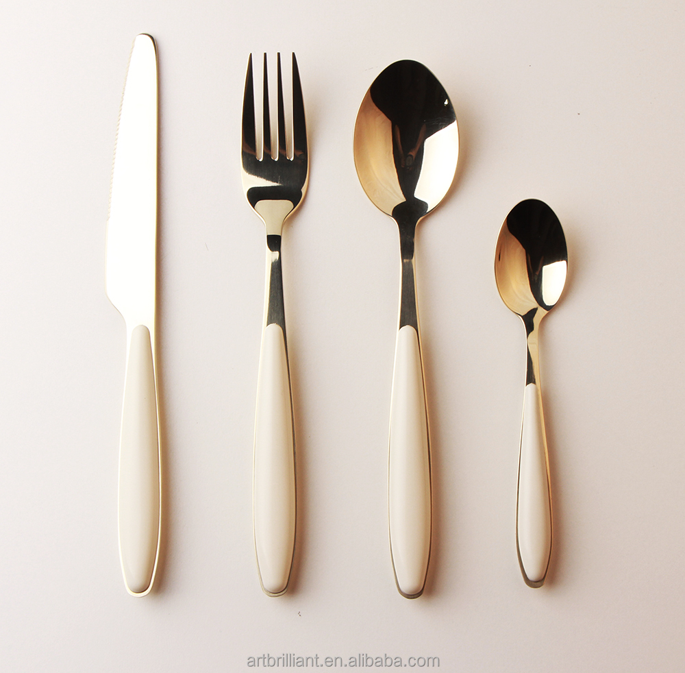 Champagne Gold stainless steel plastic Clamps handle cutlery with high quality unique design