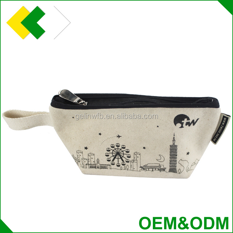 OEM & ODM functional zipper pouch beauty basics makeup bag background plain blank travel canvas cosmetic bag