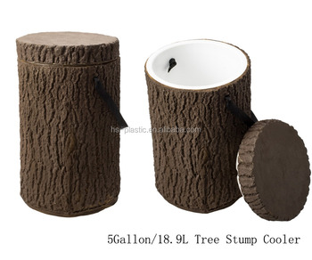 5 Gallon custom logo Tree Stump Cooler Box with Shoulder Straps