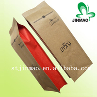 Eco-friendly kraft paper side gusset coffee packaging bag with valve