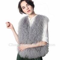 CX-G-B-191B New Hot Sale Products China Sex Girl Or Women Animal Fur Clothes Genuine Mongolian Lamb Fur Vest