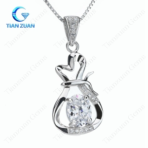 white oval shape cubic zirconia pendant wallet bag shape 925 Sterling silver plating pendants