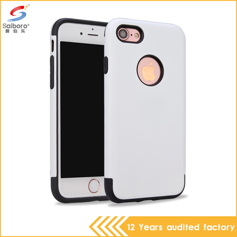Beautiful design soft tpu and hard pc combo new model case for iphone 7 case silvery case
