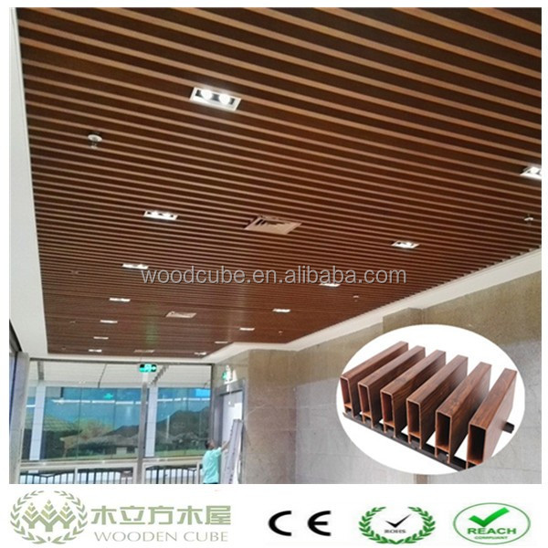 Indoor modern laminated 3d wood ceiling 60*60mm