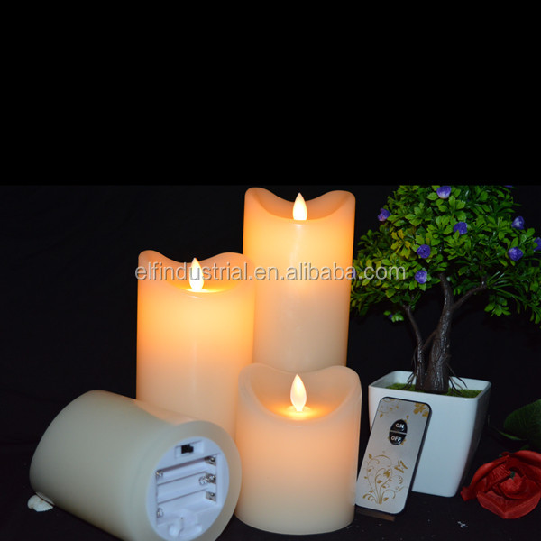 Wholesale Remote Control Paraffin Wax Birthday Candles Pillar Shape Led Flicker Flameless Religious Candle Light