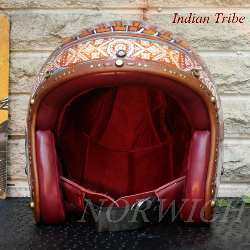 China stylish Carbon Fiber Motorcycle Helmets, handmade Indian Tribe style Motorcycle Helmet