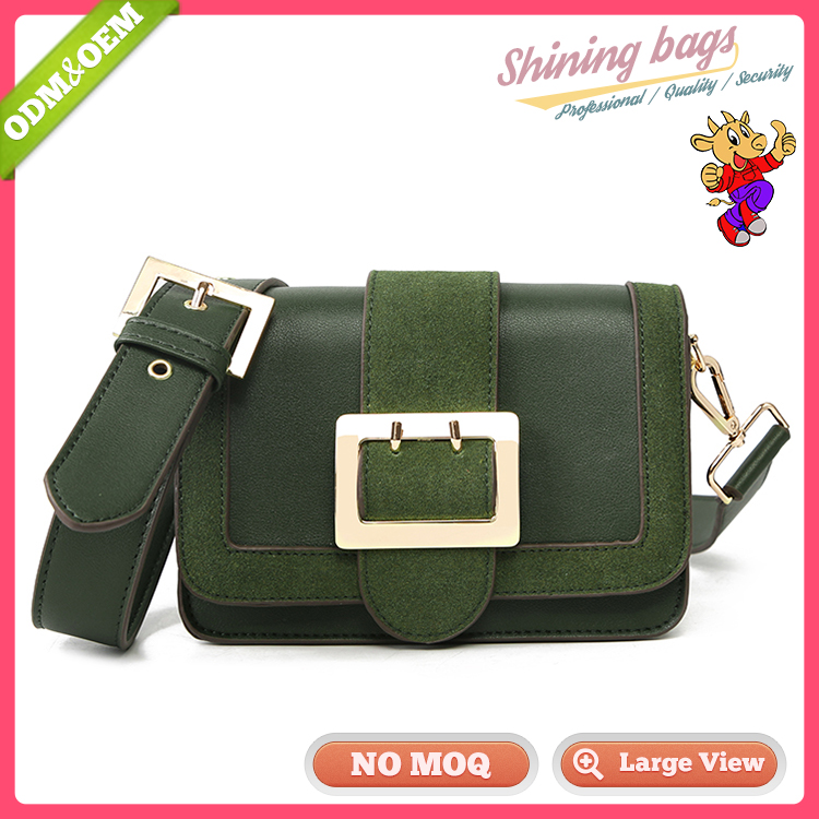 Wholesale Customized China Large Buckle Messenger Handbag Pu Leather Crossbody Bag Women