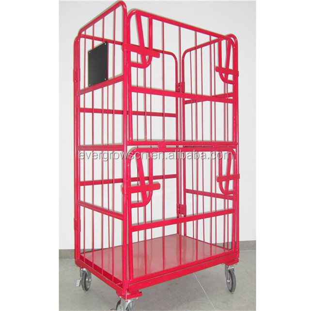 Folding Rolling Container Metal Storage Logistic Cart