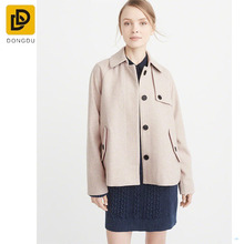 Custom fashion wholesale ultralight down over wool-blend swing apricot coat fashion design for women