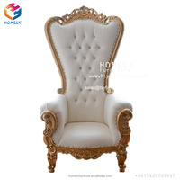Cheap wholesale wooden classic baroque hotel banquet party event white silver gold royal wedding sofa queen king throne chair