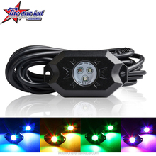 New Top-level 4x24W RGBW mini LED rock light kits, Led Tail Dome Light, RGB led rock light with Dual Music remote controller