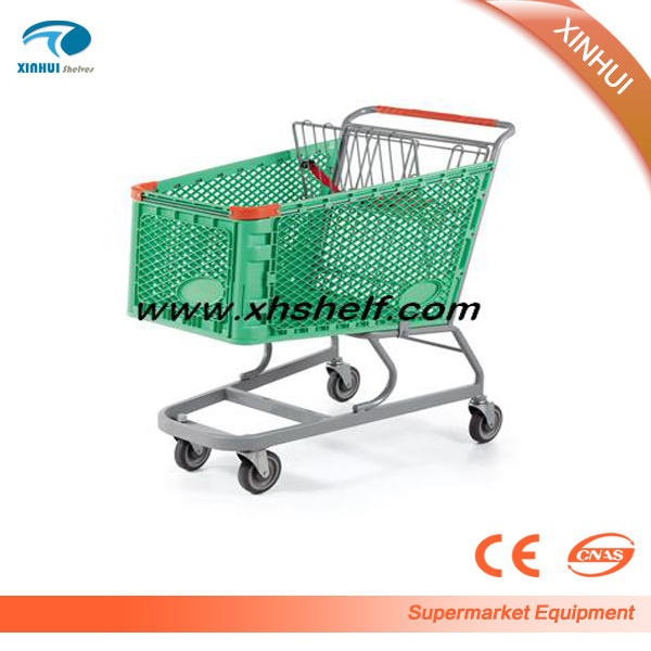 2016 New design plastic 4 big wheel supermarket shopping trolley