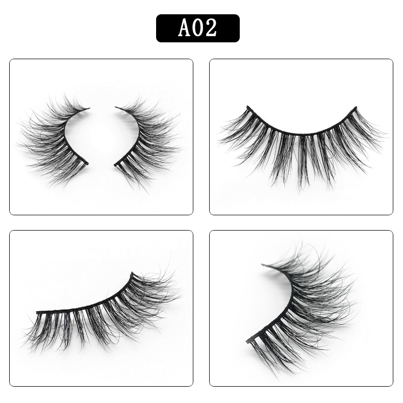 3D Mink Lashes Full Strip False Eyelash Long Super Thick Eyelashes Mink Lashes Extension A02