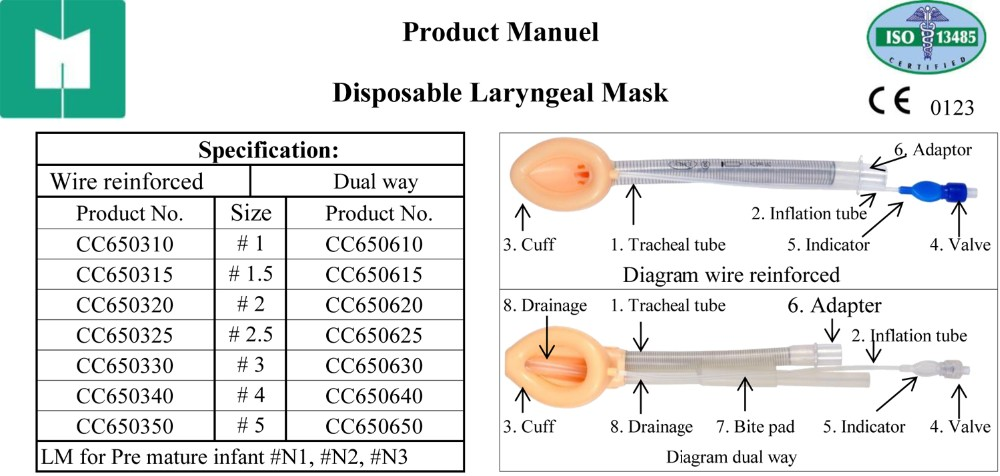 Slicone proseal disposable laryngeal airways mask