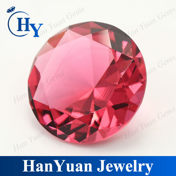 fashion round diamond cut rose red glass pumice stone