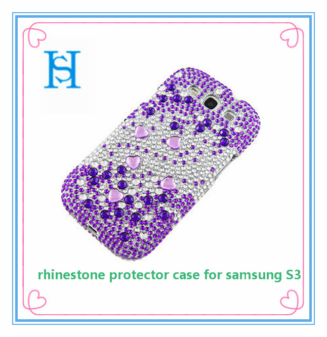 For Samsung Galaxy S 3 - Rhinestones Protector Case - Gems Full Diamond - Purple