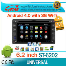 Andorid 4.0 2 din 6.2 inch central multimedia gps universal with DVD/CD/Mp3/Mp4/.Bluetooth/Radio/TV/GPS/3G/wifi/Android! newly!
