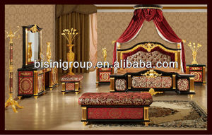 Royal Bedroom Set, Italian Luxury Style Wedding Furniture 24K Gold Plated