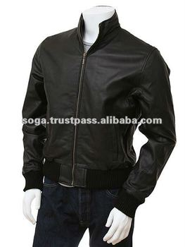 Men's Black Leather Collar Bomber Jacket