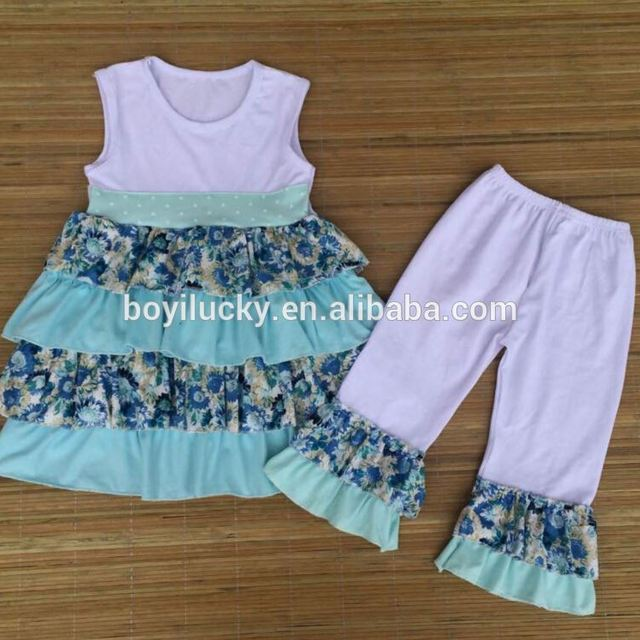 Infant baby clothes 2016 children boutique clothes sets sleeveless girl summer outfit wholesale cheap price children 2pcs