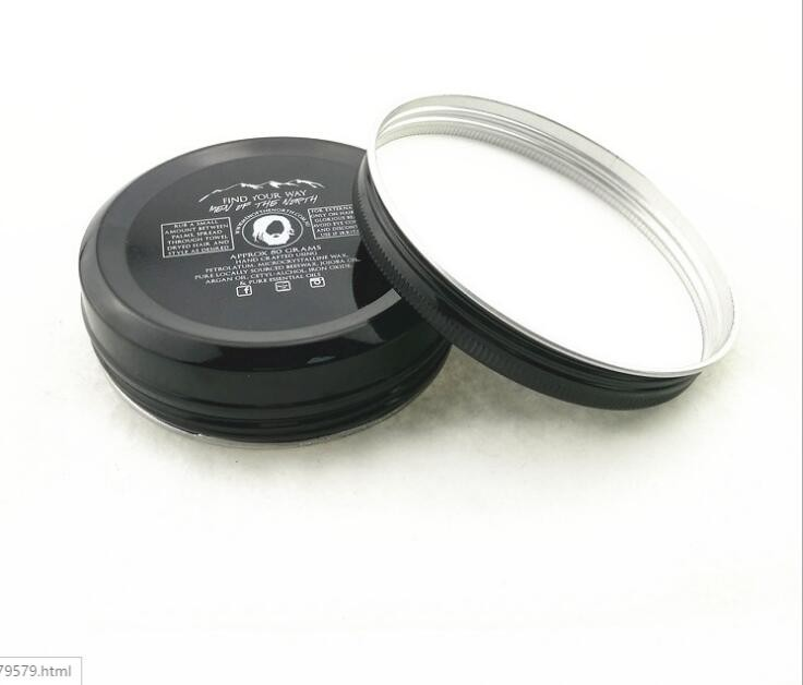 100G black aluminum hair pomade jar with silk printing