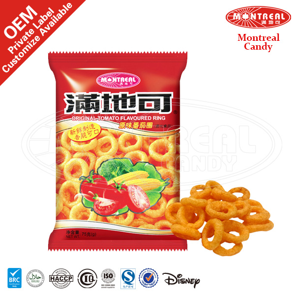Ring shape vegetable snacks crisps with tomato flavor