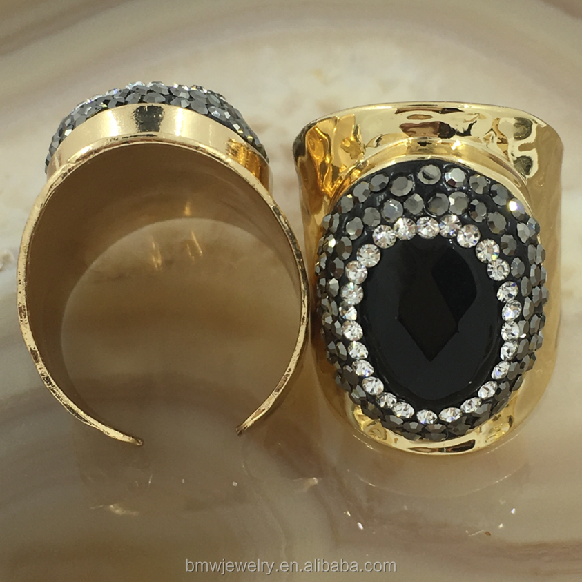 This season most popular Oval DIY black agate cheap costume jewelry rings