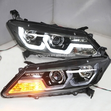 For Honda City Led Headlight 2014 Year Black Housing With Bi-xenon Projector Len LF