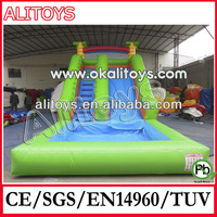 palm tree inflatable slide green color water pool slide for summer