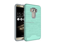 hot new products for 2016 Hot sell for asus Zenfone 3 case with practical card slot stand ,durable ,dual layer phone case TPU+PC