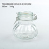 WHOLESALE FOOD GRADE 360ML ribbed storage Glass jar with CLIP LID