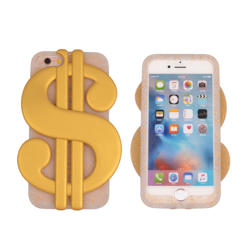 Newest Products Oem Odm 3D Cartoon Gold Us Dollar Money Silicone Phone Case For Iphone 6 7 Plus Lovely Gift For Girls Teens Kids