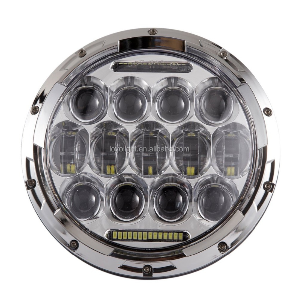 Chrome Round 7inch LED Halo Headlight 75W Daymaker DRL angel eyes Hi/lo Beam for jeep Wrangler Jk Tj h4 Pluge