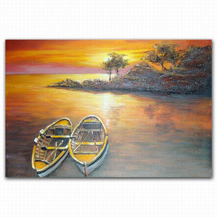 Wholesale handmade abstract boat sunset scenery oil painting for factory