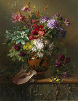 Still Life of Flowers in a vase in Greece Classicism Oil Painting