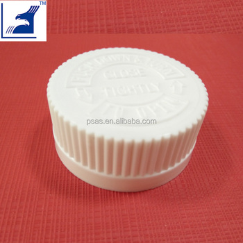 Plastic 28mm Child Safety CRC Bottle Caps with White Clear Color