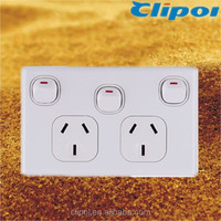 Australia wall socket 250V 10A SAA double socket with extra switch DS616